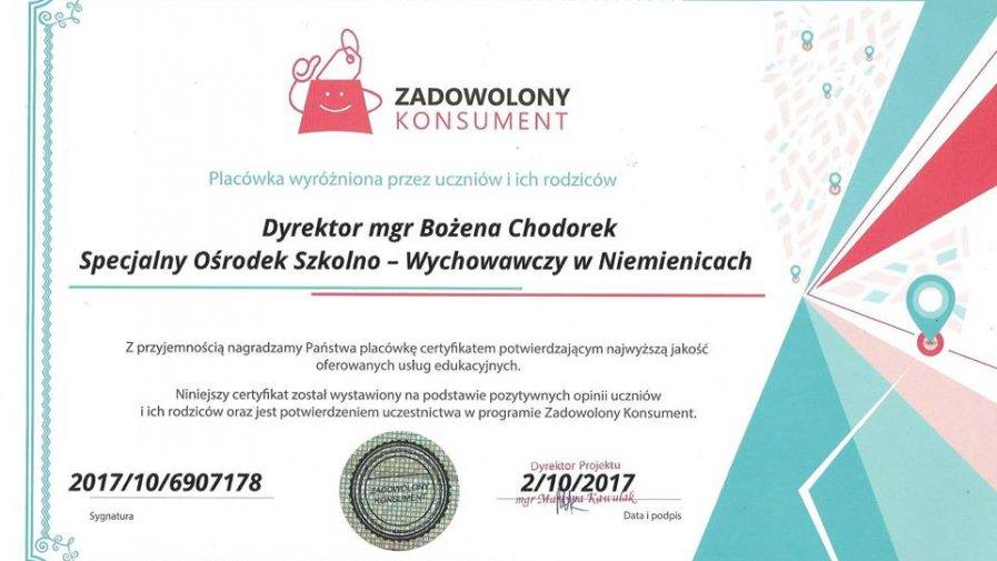 SOSW w Niemienicach wyróżniony i nagrodzony
