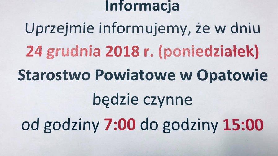 Godziny pracy Starostwa Powiatowego w Opatowie w Wigilię